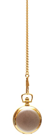 Gold pocket watch and chain, isolated on the white background photo