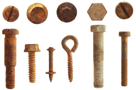 rusty screws and bolts isolated on white  Stock Photo - 9703160