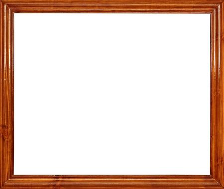 marco madera: foto de marco de madera para una imagen, aislada en blanco  Foto de archivo