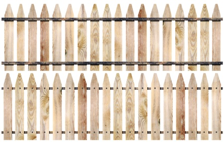 white picket fence: Wooden fence isolate on white background