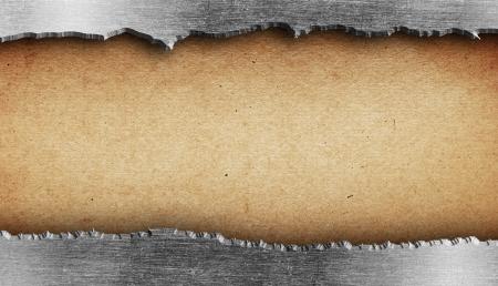 oxidado: Textura metal rasgado sobre papel viejo