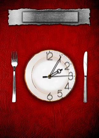 Menu. Dishware and clock. Concept restrictions in food Stock Photo - 10002418