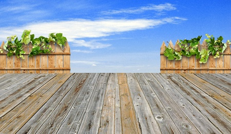 wooden terrace and blue sky  photo