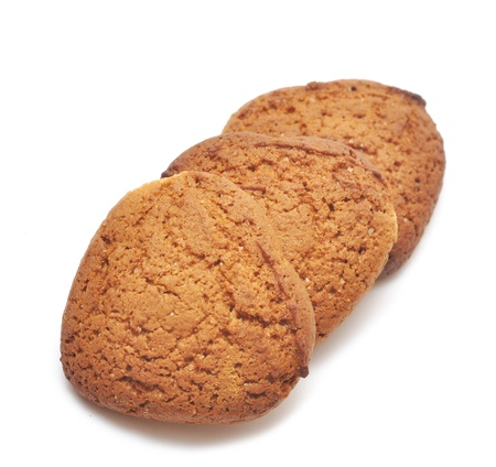 fresh oats cookies on white photo