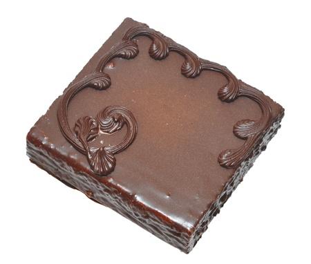 chocoladecake op een witte achtergrond Stockfoto