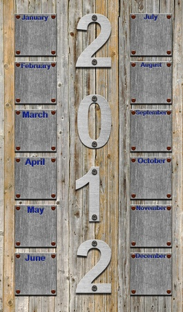 blank 2012 calendar over old wooden planks photo
