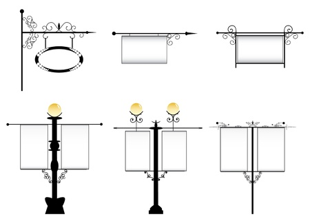 wrought-iron street lamps with a sign for advertising Vector