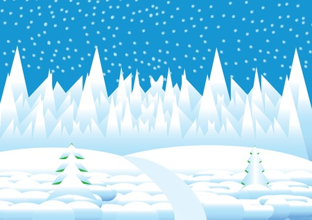 winter landscape with white snowflakes and trees Vector