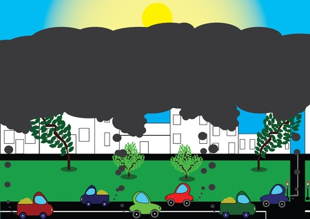 combustible: pollution of environment by combustible gas of a car Illustration
