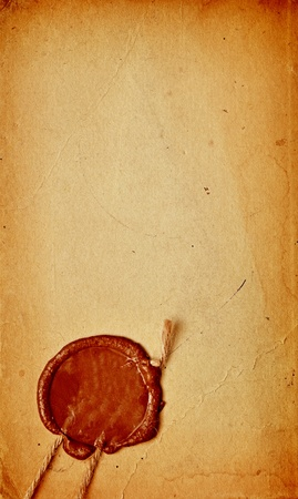 seal brown: old paper with a wax seal
