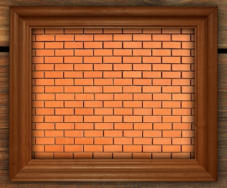blank photo frame on old brick wall for background photo