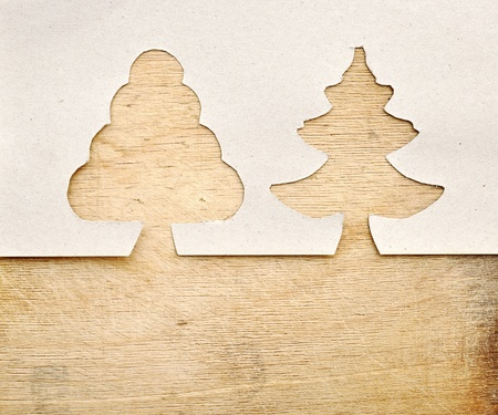 christmas tree made of torn paper with space for Your text photo