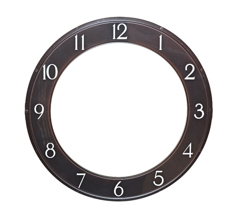 analog: round clock face on white background