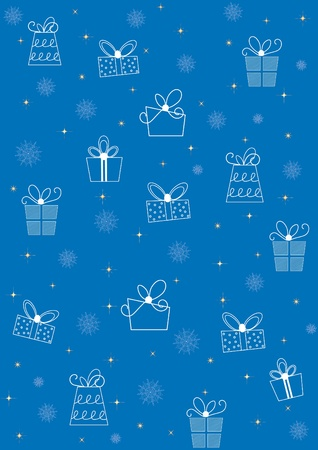 Abstract Christmas background with gift box Vector