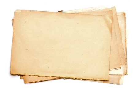 old notebook: old paper sheets isolated on white