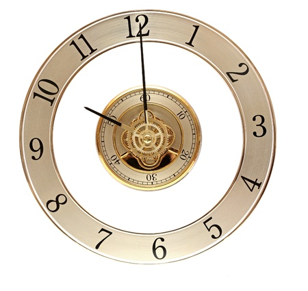 clock gears: Golden Clock with gears on white Stock Photo