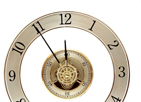 Golden Clock with gears on white photo