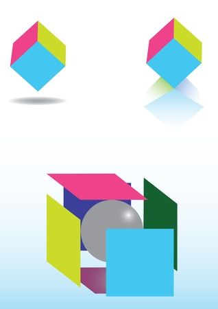 colorful cubes, on white background Stock Vector - 11914125