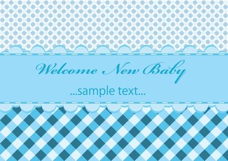 blue shirt: baby boy announcement card. vector illustration
