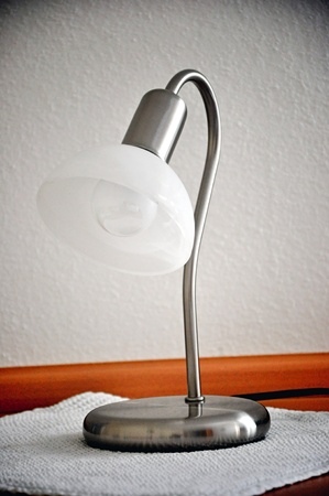 table lamp on wooden table photo