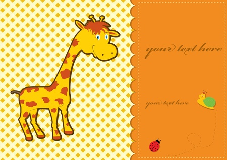 Baby shower card with cute giraffe Vector