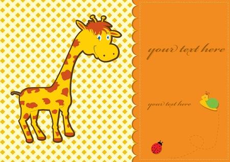 Tarjeta de Baby Shower con lindo jirafa Ilustración de vector
