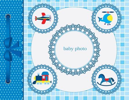 baby scrapbook: Baby-Gru�karte. Rahmen f�r Ihren Text oder Bild Illustration