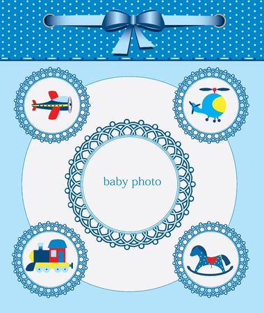 Baby greeting card. Frame for your text or picture