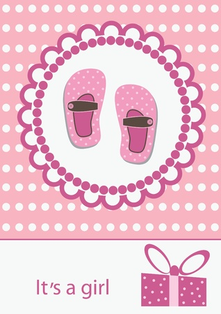 boot print: baby girl announcement card. vector illustration