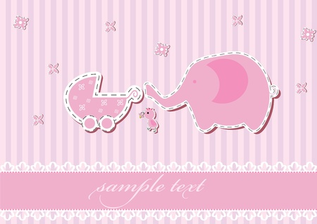 Girl arrival announcement card. vector illustration Vector