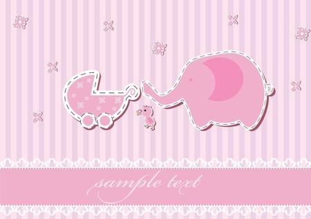 animalitos tiernos: Llegada ni�a anuncio de la tarjeta. ilustraci�n vectorial