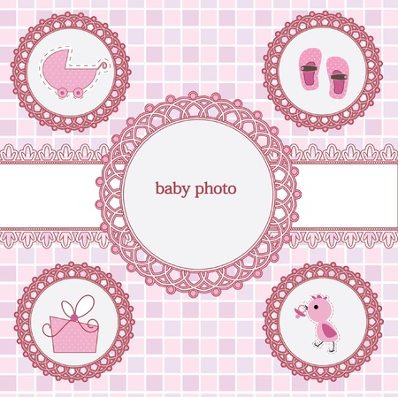 Card With Photo Frame For Your Baby Girl Royalty Free Cliparts ...