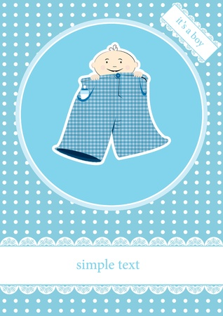 you are welcome: baby boy announcement card. illustration