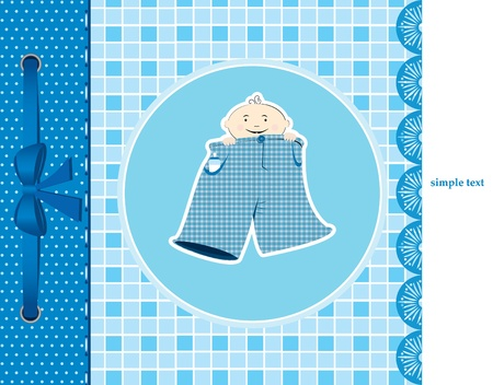 baby boy announcement card. illustration Vector