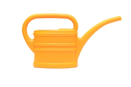 yellow watering can isolated on white background  Stock Photo - 12232340