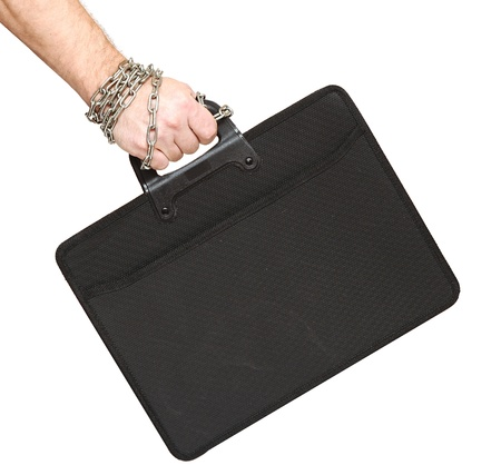 secret business briefcase locked with strong chain photo
