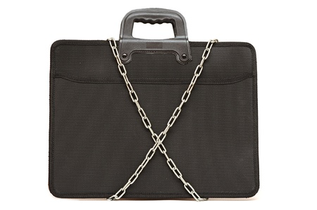 secret business briefcase locked with strong chain Stock Photo - 12232353