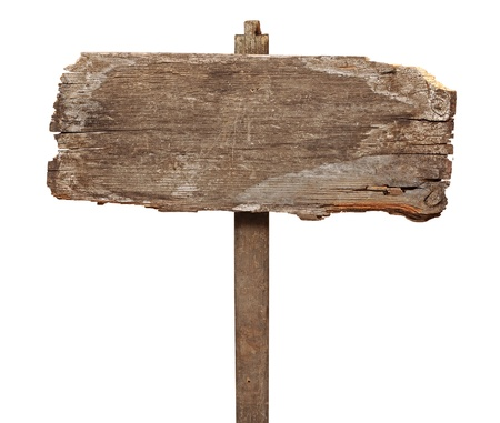 wooden post: vintage road sign isolated on a white background