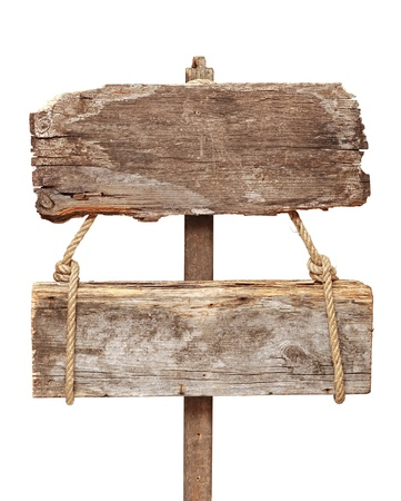 Old wooden signpost isolated on a white background photo
