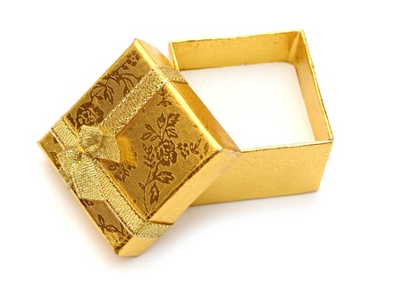 open golden gift boxes with golden ribbon Stock Photo - 12232408