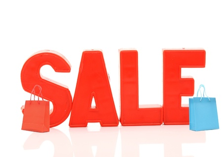 word sale with shopping bags on white  Stock Photo - 12232403