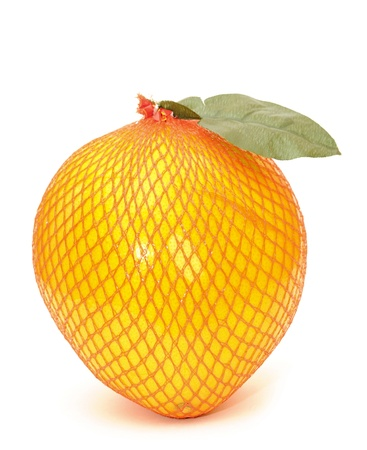 food - fruit pomelo wrapped in a plastic on white photo