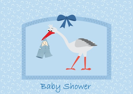 Boy Stork Baby Shower Invitation Vector