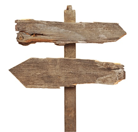 signpost: old wooden arrows road sign isolated on white