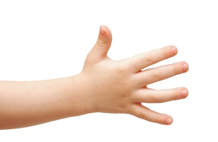 child care: hands of the child isolated on the white background.  Stock Photo