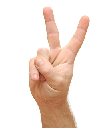 Hand sign showing V for victory isolated on white. Stock Photo - 12646393