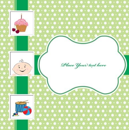 the first love: Beb� con una tarjeta de felicitaci�n de cumplea�os torta Vectores