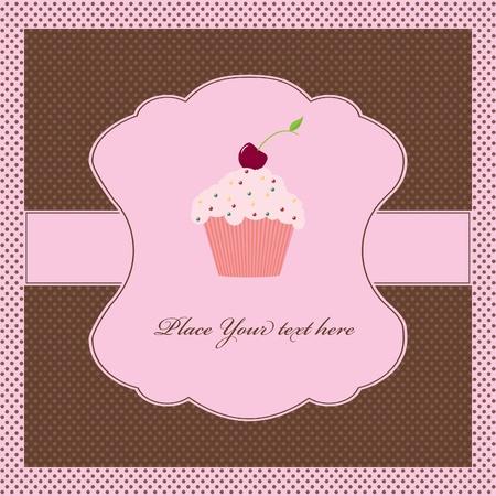 Cupcake card template Vector