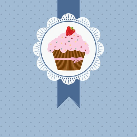 birthday card with strawberry cake and pink ribbon and bow Vector