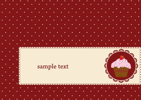 layout strawberry: birthday card with strawberry cake and red ribbon  Illustration